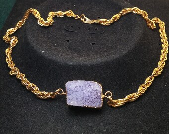 Druzy Quarts Stone Gold Dipped Necklace
