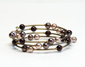 Chocolate Memory Wire Bracelet - Brown Glass Pearl Wrap Bracelet with Antique Brass Curved Tube Beads - Handmade Jewelry