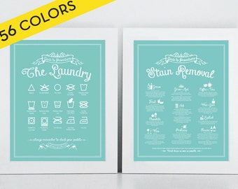 SET 'The Laundry and Stain Removal' prints - Icons, Symbols, Guide To Procedures, Laundry Room, Rules, Sign, Vintage, Stains, Decor, Art