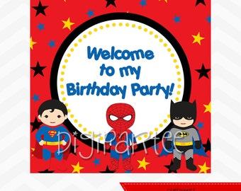 INSTANT DOWNLOAD - Superhero Welcome Sign