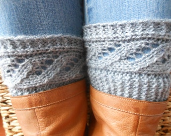 Hand Knitted Lace Boot Cuffs Leg Warmers Gray