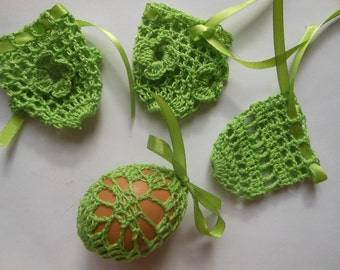 Crochet Easter Egg Cover, Set of 4 Hand Crocheted Easter Eggs Easter Decoration Green