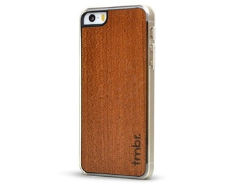 Sapele Wood iPhone 5 5S Case - Handcrafted Real Sapele Wood Clear Case - Free Shipping US