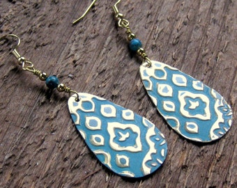 Hand Stamped Turquoise Brass Earrings Bohemian Jewelry