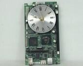 Green Motherboard Wall Clock, Geekery, Techie Art, Geekery, Handmade, Computer Clock, Clocks by DanO