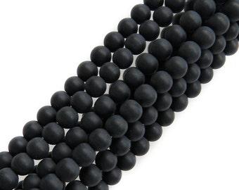Matte Black Onyx, Round, 6mm; 1 strand