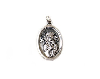 Our Lady of Perpetual Help Italian Charm, Antique Silver, 25x16mm - 1 piece
