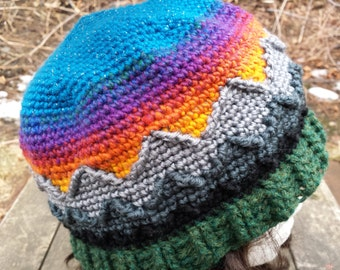 CROCHET PATTERN - Mountain Sunset Hat Cabled Cables Download