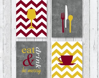 Modern Kitchen Art Prints - Eat Drink & Be Merry // Burgundy, Mustard, Grey // Set of (4) 4 x 6, 5 x 7 OR 8 x 10 // Kitchen Decor - Unframed