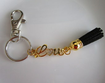 Gold tone love charm keychain with black leather tassel, love purse charm, keychain purse charm, leather keychain, tassel, love charm