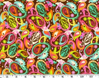 1 Yard, Multi Colored Paisley on Brown