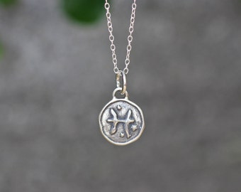 Pisces Astrology Zodiac Sign Pendant, Birthday gifts, Zodiac Jewelry,Sterling Silver Chain Included.