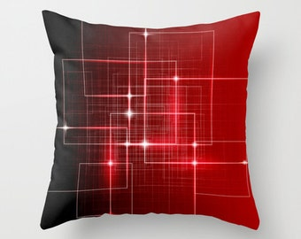 Red Pillow IT Pillow Technology pillow Throw pillow Cushion covers Pillow case Accent pillow Couch pillow Red Pattern Pillow 16x16