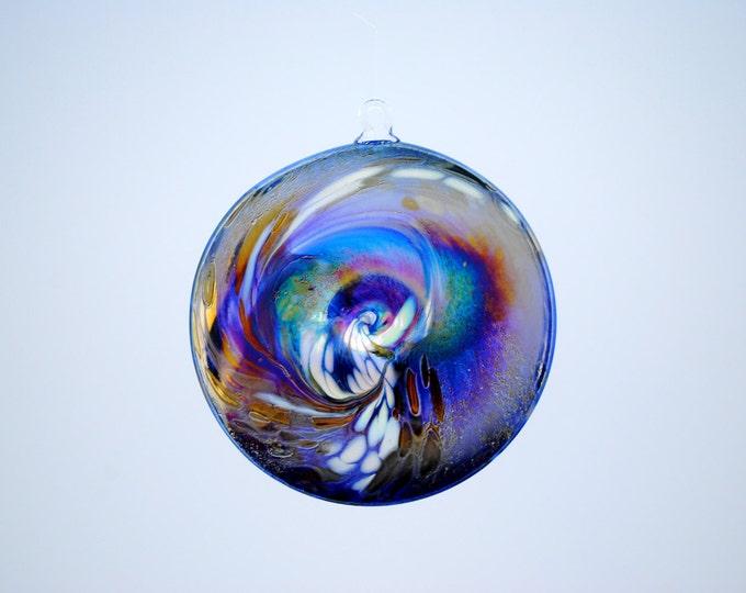 e00-65 Flat Iridescent Disc Ornament Dark Blue