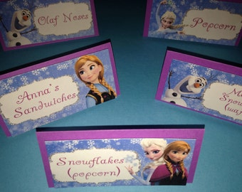 Frozen tent cards, Princess tent cards, princess decoration for candy station, princess candy station, snowflake decorarion (set of 6)