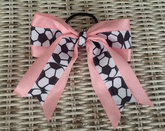 Soccer Girls Hair Bow - Soccer Ponytail Holder
