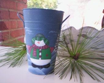 Hand painted metal bucket/Metal bucket with handle/Holiday bucket/Blue metal bucket/Vintage christmas bucket/Swonman christmas bucket