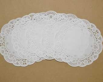 25 - 5 inch white *New style* French lace paper doilies