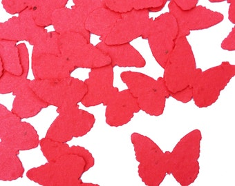 Bright Red Butterfly Shaped Plantable Seed Paper Confetti, Wildflower Seed, Recycled Paper  - 100 Pack