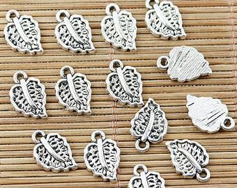 48pcs Tibetan silver leaf charm pendants EF1324