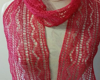New beautiful hand knitted linen fuchsia color scarf / lace stole