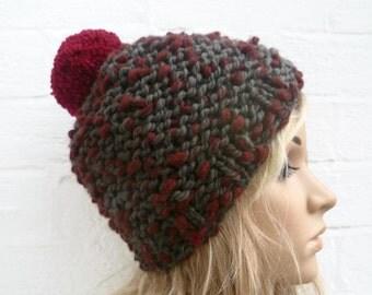 Sale Wool Pom Pom Hat,  Women Hand Knitted Super Chunky Pom Pom Hat, Burgundy Grey Wool Bobble Hat, Clickclackknits