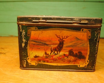 RARE Antique biscuit lovely colors autumn fall beautiful with deer,ocean, castles,donkey, man,red green blue gold brown fall English Antique