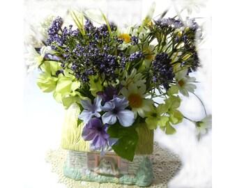Springtime Floral Arrangement in Bunny Cottage Vintage Ceramic Planter Floral Centerpiece