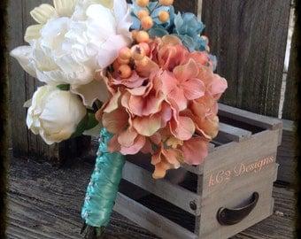 Silk flower wedding bouquet. Silk bouquet. Bridal bouquet. YOUR COLORS. Teal wedding. Beach wedding. sapphire wedding. blush wedding. 2016.