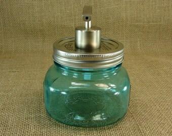 Hand Made Mason jar Wide Mouth Soap Pump With Mason Jar - Blue Color