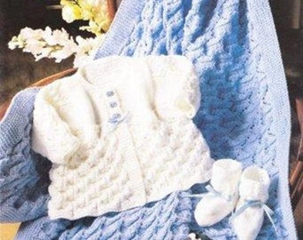 baby knitting pattern for cardigan booties shawl 14 /20 in chest dk yarn