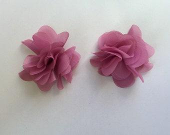 Rose pink chiffon hair clips