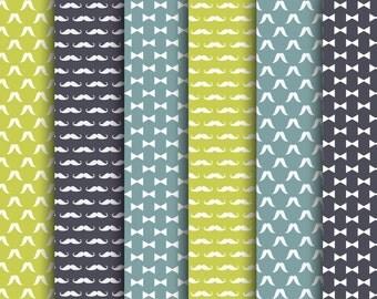 60% OFF SALE  Digital Scrapbook Paper Pack Hipster  Blue, Green Jpeg Digital Papers Backgrounds Wallpapers