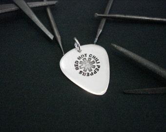Mini silver handmade guitar pick - R H C P