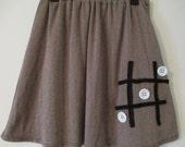 SALE- TiC TaC ToE Skirt - Upcycled Womens Skirt