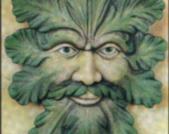 """Green man wall plaque #2 ready to paint 14 1/2""""  x 9"""" ceramic bisque"""