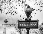 Paris Metro Sign Photography, Black & White Print Art Paris Architecture Streets,  Gift Idea For Her, Monochromatic Print - Christmas Gift