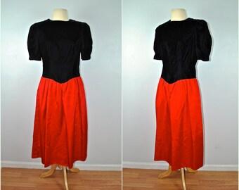 Black Velvet Dress With Red Skirt, Vintage Black Velvet Dress,