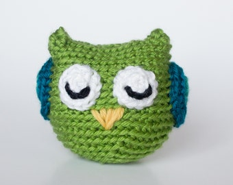 Crocheted Owl - Cute Little Lime Green, Amigurumi Stuffed Animal, Woodland Owl - Perfect for Babies and Toddlers - Fun Stocking Stuffer