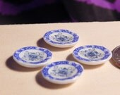 Dollhouse Dessert Plates - Doll House Blue Floral Set of 4 Dessert Plates - 1/12th Scale