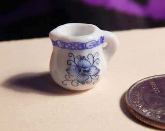 Dollhouse Pitcher - Doll House Blue White Floral Pitcher - Small Milk Pitcher - Multi Scale