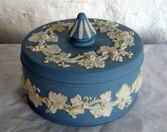 Wedgwood Blue Jasperware Grapevine Candy Box