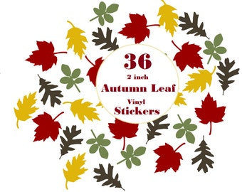 36 2 inch Autumn Leaf Stickers Envelope Seals, Party Favors, Party Glasses, Unlimited Possiblities