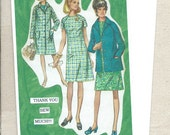 Sewing and Fabric Arts featured on this modern card, Thank you sew much, River Spring, antique fashion gals from the sixties and seventies