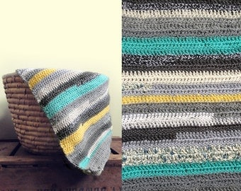 Crocheted hooded striped baby blanket colourful grey green yellow
