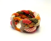 colorful knitted bracelet / braided bracelet / multicolor bangle / knot jewelry / pink beige orange