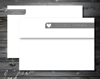 Skinny Wrap Return Address Labels for Newborn, New Baby, Twins, Thank You // Double Thanks // Set of 50