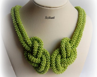 10% SALE! Green Knotted Seed Bead Necklace, Statement Beadwoven High Fashion Summer Jewelry, Women's Beaded Accessory, Gift for Her, OOAK