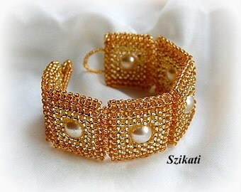 10% SALE! Gold Statement Beadwoven Cuff Bracelet, Beaded Fashion Jewelry, Right Angle Weave, Women's Beadwork Accessory, Gift for Her, OOAK