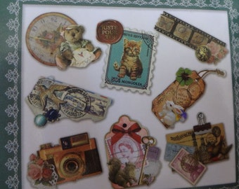 Japan Q-lia MEMORIES 64pcs Booklatte Sticker Sacks/Antique,Victorian